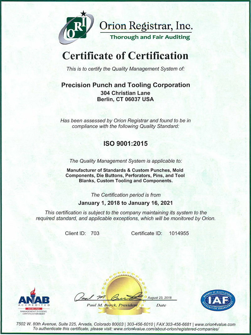 Iso 9001 Quality Standard Certification Ppunch