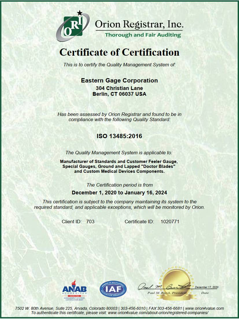 Eastern Gage ISO 13485-2016