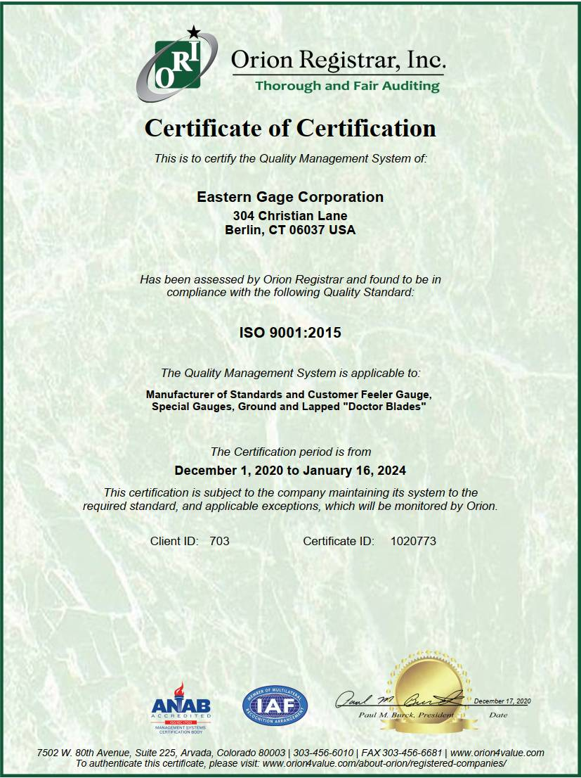Eastern Gage ISO 9001-2015